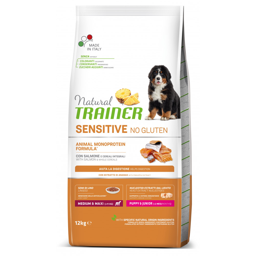 TRAINER SENSITIVE NO GLUTEN PUPPY&JUNIOR M/M SALMON 12 kg