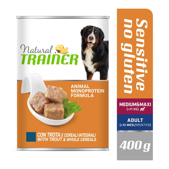 TRAINER DOG SENSITIVE NO GLUTEN MEDIUM&MAXI TROUT&WHOLE CEREALS 400 g