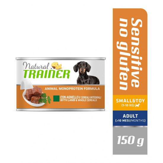 TRAINER DOG SENSITIVE NO GLUTEN SMALL&TOY ADULT with LAMB&WHOLE CEREALS 150 g